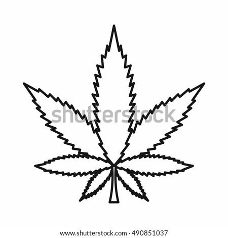 Cannabis marijuana leaf icon outline style stock illustration 490851037 shutterstock - Coloriage feuille de cannabis ...
