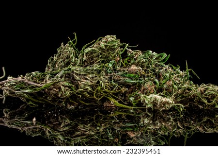 Cannabis on a black background - stock photo