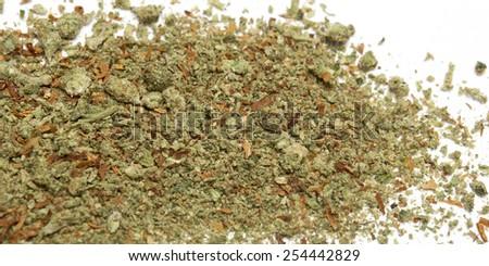Cannabis on a white background, marijuana bud  - stock photo