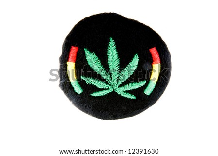 Cannabis pillow with the color of jamaica - stock photo