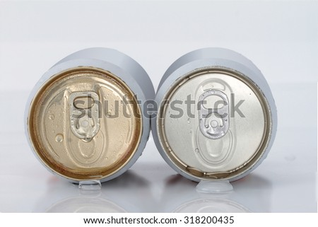 Canned beer is chilled white - stock photo