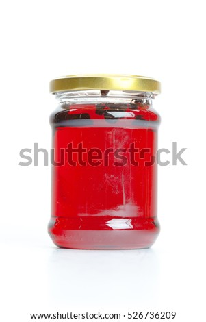 Canned compotes in large glass jar