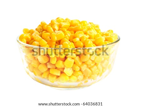 Canned corn in glass bowl isolated on white - stock photo