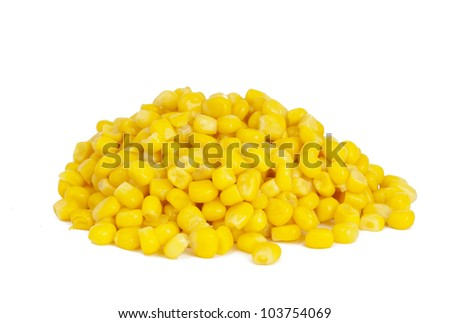 canned corn isolated on white background - stock photo