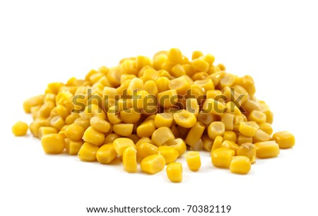 canned corn on a white background