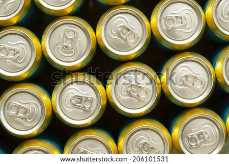 canned drinks in a row - stock photo