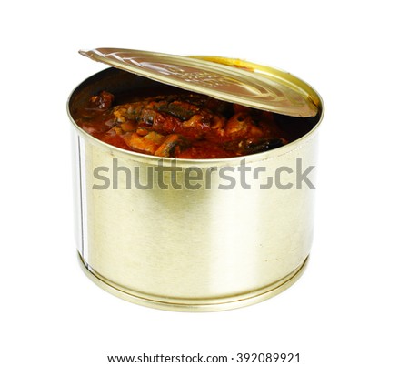 Canned Fish Sprat in Tomato Sauce Isolated on White Background Studio Photo - stock photo