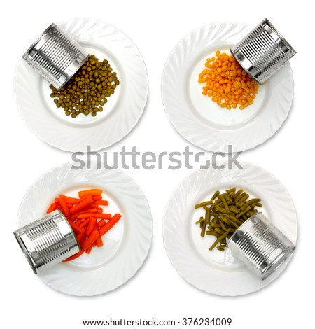 canned food, canned goods, canned, tinned food - stock photo