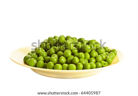 Canned green pea on the white background