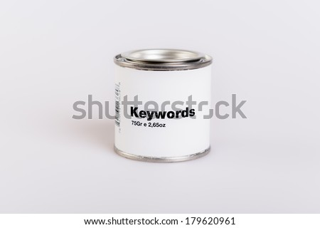 Canned keywords with white background. - stock photo