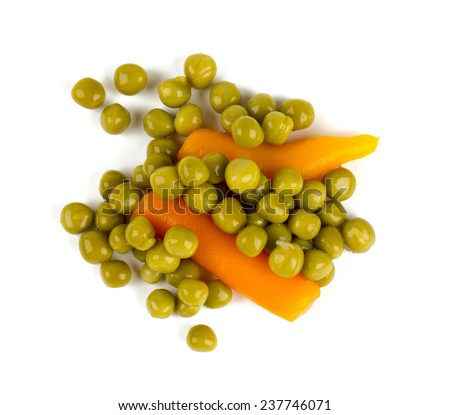 canned peas and carrots isolated on white