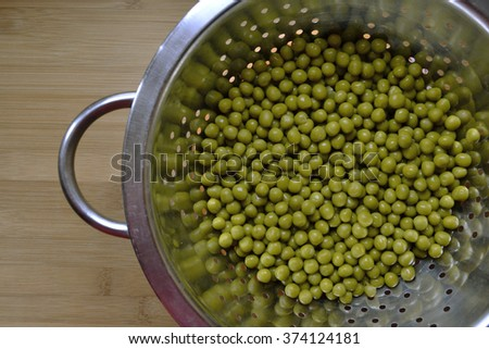 Canned peas in a metal bowl