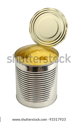 canned pineapple in a can isolated on white a background - stock photo