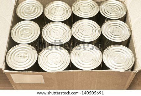 canned production in carton box - stock photo