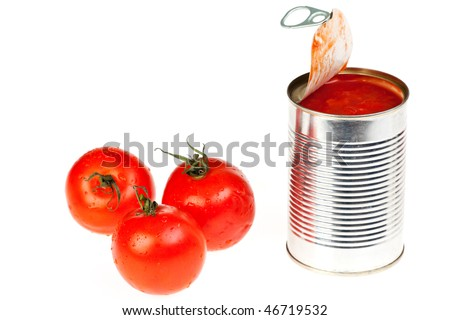 canned raw food and tomatoes isolated on white - stock photo