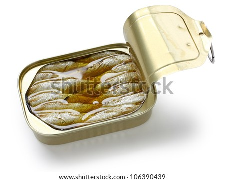 canned sardines in oil - stock photo