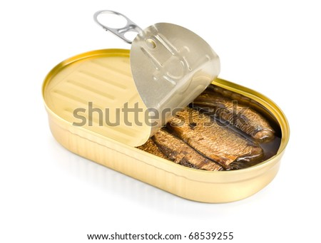 Canned sardines sea isolated on white background - stock photo