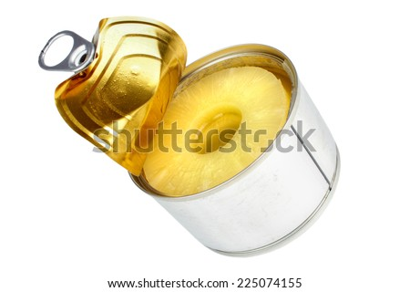 Canned sliced pineapple , lid opened , isolated on white - stock photo