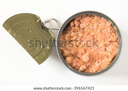 canned tuna isolated on white / Canned soy free albacore white meat tuna packed in water / open tuna tin on a white background / tuna fish isolated on white  - stock photo