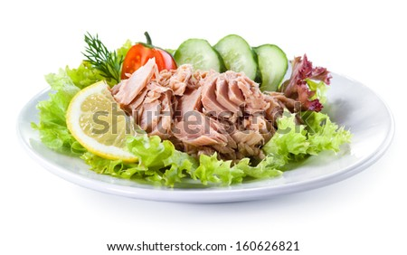 Canned tuna with vegetable salad - stock photo