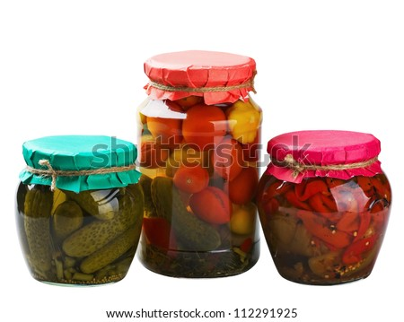 canned vegetables isolated on white background