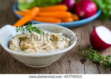 Cannellini beans dip with baby carrot,celery and radish