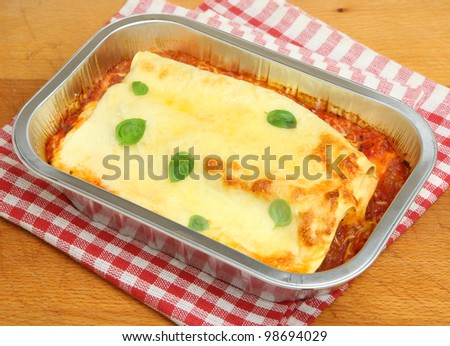 Cannelloni ready meal in foil container - stock photo