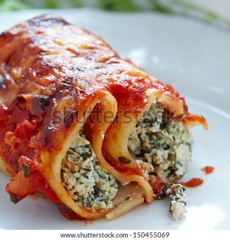 Cannelloni with spinach and ricotta - stock photo