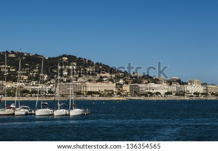 Cannes and hotels - stock photo