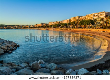 Cannes bay in alpes maritimes french riviera France - stock photo