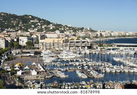 Cannes city view and Harbour, France - stock photo