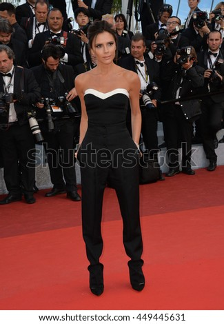 "CANNES, FR - MAY 11, 2016: Former Spice Girl Victoria Beckham at the gala premiere of Woody Allen's ""Cafe Society"" at the 69th Festival de Cannes."