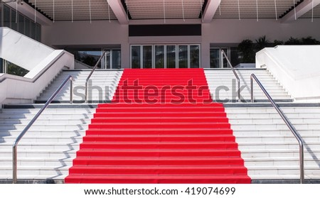 CANNES, FRANCE- APRIL 15: Red Carpet stairs- Grand Auditorium Louis Lumiere on April 15, 2016 in CANNES, Cannes is a city located on the French Riviera and host city of the annual Cannes Film Festival - stock photo