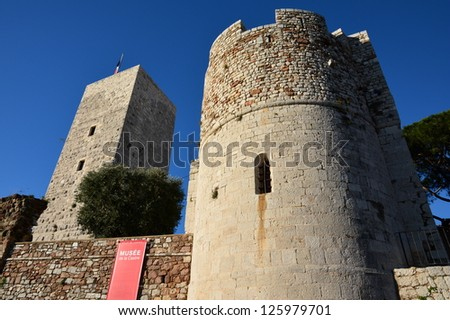 CANNES, FRANCE-JANUARY 24: Castre museum facade shown in January 24, 2013 on Cannes, France. In a medieval castle, the museum contains a collection of antiquities, musical instruments and paintings. - stock photo