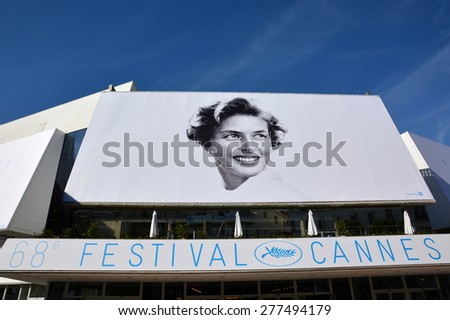 CANNES, FRANCE - MAI 12: The poster for the 68th International Film Festival shown on may 12, 2015 in Cannes, French Riviera. This year the artist chosen is the famous swedish actress Ingrid Bergman. - stock photo