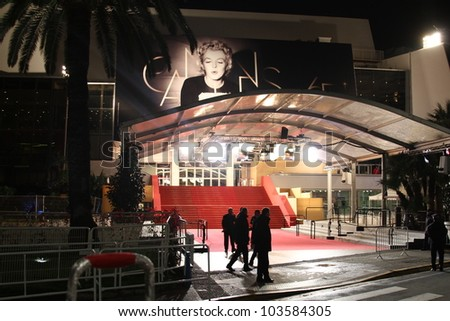 CANNES, FRANCE - MAY 21: A general view of atmosphere Palais des Festivals on  during the 65th Annual Cannes Film Festival on May 21, 2012 in Cannes, France. - stock photo