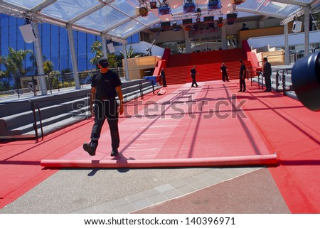 CANNES, FRANCE - MAY 26: A general view of atmosphere Palais des Festivals on during the 66th Annual Cannes Film Festival on May 26, 2013 in Cannes, France. - stock photo