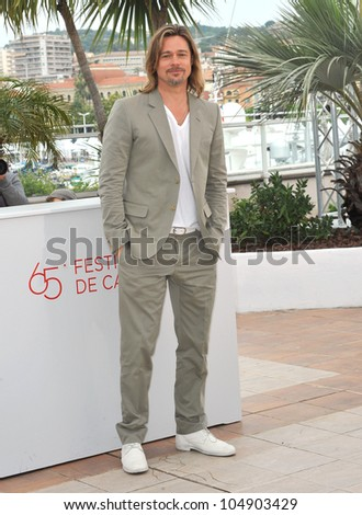 "CANNES, FRANCE - MAY 22, 2012: Actor Brad Pitt at the photo-call for his new movie ""Killing Them Softly"" in competition at the 65th Festival de Cannes on May 22, 2012  Cannes, France - stock photo"