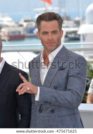 "CANNES, FRANCE - MAY 16, 2016: Actor Chris Pine at the photocall for ""Hell or High Water"" at the 69th Festival de Cannes."