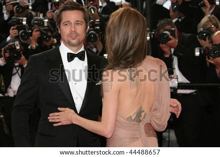 CANNES, FRANCE - MAY 20: Actors Angelina Jolie and Brad Pitt attend the 'Inglourious Basterds' Premiere at the  Theatre Lumiere during the 62nd  Cannes Film Festival on May 20, 2009 in Cannes, France - stock photo