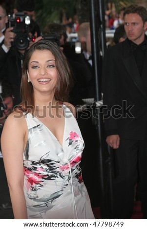 CANNES, FRANCE - MAY 12: Actress Aishwarya Rai attends the Woody Allen movie preview 'Match Point' at the Grand Theatre Lumiere on May 12, 2005 in Cannes, France - stock photo