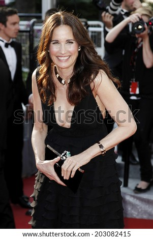 CANNES, FRANCE - MAY 26: Actress Andie MacDowell attends the 'Mud' premiere during the 65th Cannes Film Festival on May 26, 2012 in Cannes, France. - stock photo