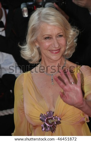 CANNES, FRANCE - MAY 20: Actress Helen Mirren attends the premiere for the film 'Chacun Son Cinema' at the Palais des Festivals during the 60th Cannes  Festival on May 20, 2007 in Cannes, France - stock photo
