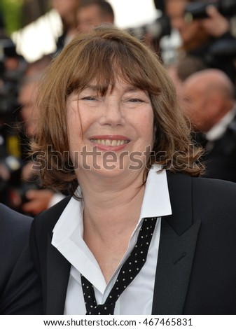 "CANNES, FRANCE - MAY 11, 2016: Actress Jane Birkin at the gala premiere of Woody Allen's ""Cafe Society"" at the 69th Festival de Cannes."