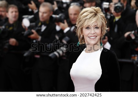CANNES, FRANCE - MAY 17: Actress Jane Fonda attends the premiere of  'Rust and Bone'  during the 65th Cannes Film Festival on May 17, 2012 in Cannes, France.  - stock photo