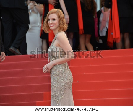 "CANNES, FRANCE - MAY 12, 2016: Actress Jessica Chastain at the gala premiere for ""Money Monster"" at the 69th Festival de Cannes."