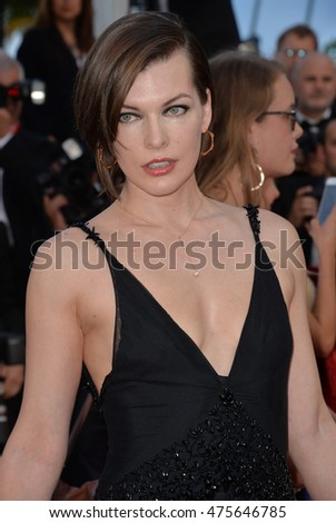 "CANNES, FRANCE - MAY 20, 2016: Actress Milla Jovovich at the gala premiere for ""The Last Face"" at the 69th Festival de Cannes."