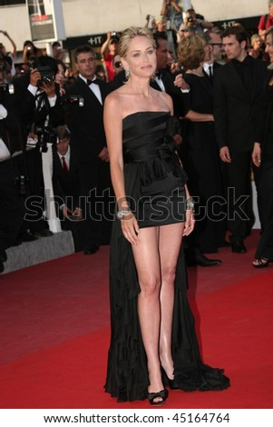 CANNES, FRANCE - MAY 20: Actress Sharon Stone attends the 'Inglourious Basterds' Premiere at the Grand Theatre Lumiere during the 62nd Annual Cannes Film Festival on May 20, 2009 in Cannes, France