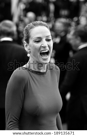 CANNES, FRANCE - MAY 22: Actress Uma Thurman attends the Closing Ceremony during the 64th Cannes Film Festival on May 22, 2011 in Cannes, France.  - stock photo