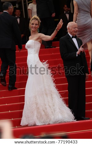 CANNES, FRANCE - MAY 11: Actress  Uma Thurman attends the Opening Ceremony and 'Midnight In Paris' Premiere at the Palais des Festivals during the 64 Cannes Festival on May 11, 2011 in Cannes, France - stock photo